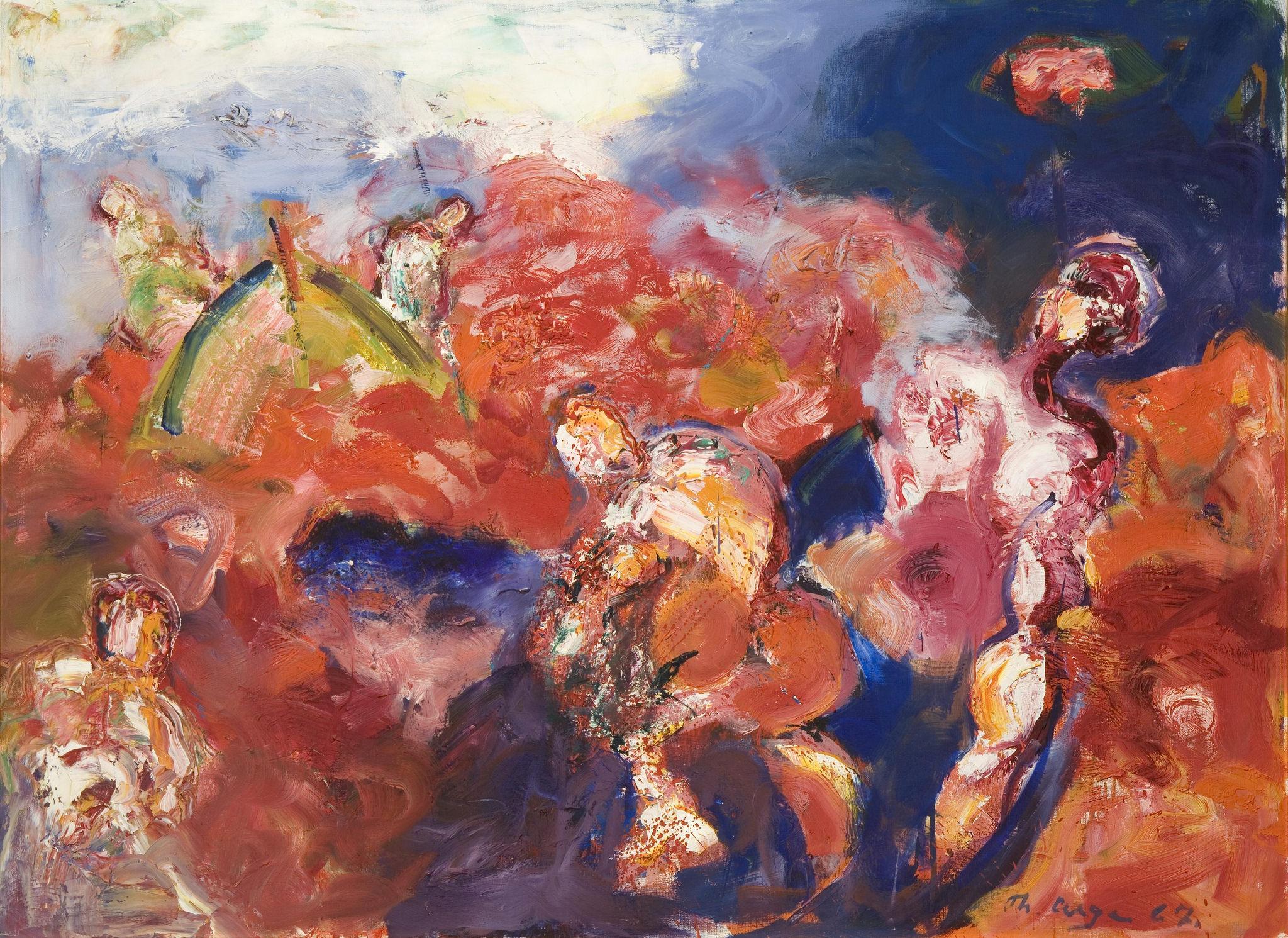 Thomas Arge, Grindadráp, 1967, olja á lørift, 100 x 134 cm, Tórshavnar Býráð